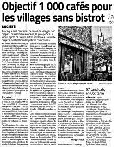 Article Midi Libre 27/12/2019. Villages sans café